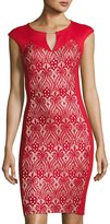 Jax Lace-Inset Cap-Sleeve Sheath Dress, Red