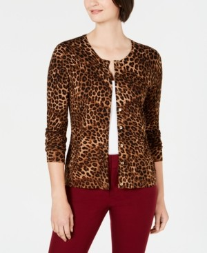 Charter Club Animal-Print Cardigan, Created for Macy's