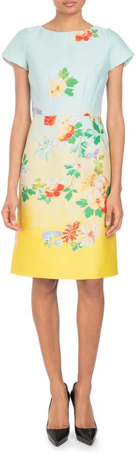 Andrew Gn Cap-Sleeve Dé;gradé; Floral-Jacquard Dress