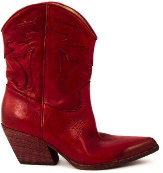 Elena Iachi Red Leather Ankle Boots