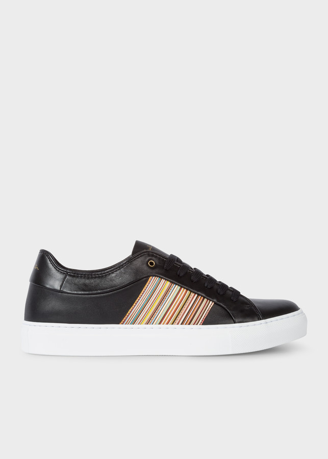Paul Smith Men's Black Leather 'Ivo' Sneakers With Signature Stripe Panels