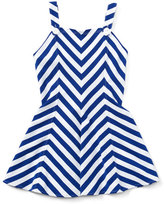 Ralph Lauren Sleeveless Striped Fit-and-Flare Jersey Dress, Blue, Size 2T-4T
