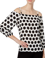 I.N.C International Concepts Petite Polka Dot Off-the-Shoulder Top