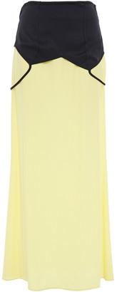 Maison Margiela Paneled Two-tone Crepe De Chine Maxi Skirt
