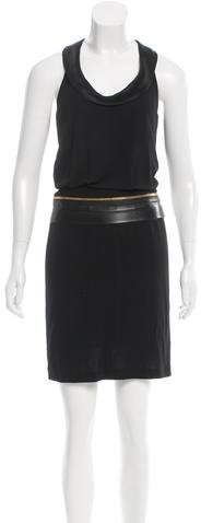 Barbara Bui Leather-Accented Knee-Length Dress