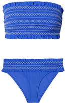 Tory Burch Costa Smocked Bandeau Bikini - Light blue