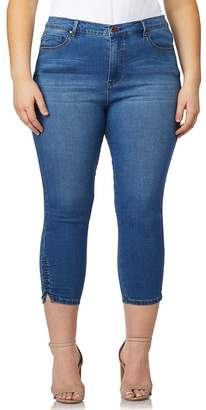 Curve Appeal Premium Side Ruched Cropped Skinny Jeans (Plus Size)