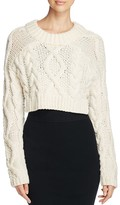 DKNY Merino Wool Cable Knit Cropped Sweater