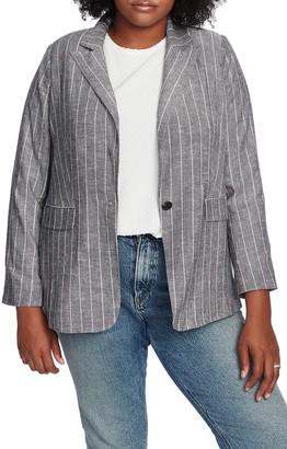 Court And Rowe Pinstripe One-Button Blazer (Plus Size)