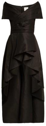 Aje Nottingham Ruffled-hem Linen-blend Top - Black