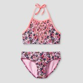 Xhilaration Girls' High Neck Fringe Floral Bikini Pink