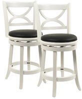 Boraam 3724 Florence Stool, 24-Inch, Distressed White, 2-Pack