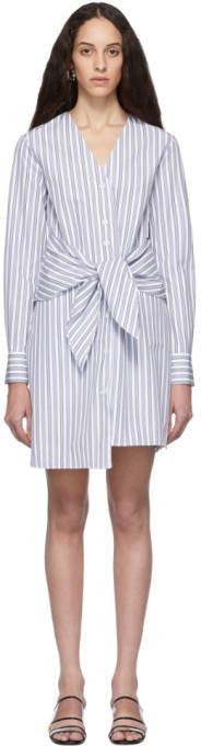 Tibi Blue and White Stripe Liam V-Neck Shirt Dress