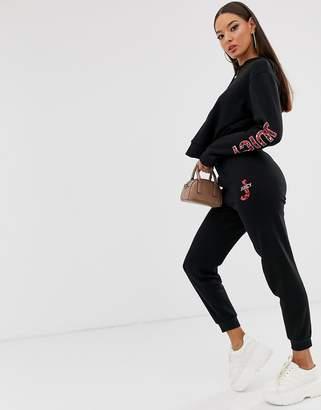 Juicy Couture leopard print logo cuffed joggers-Black