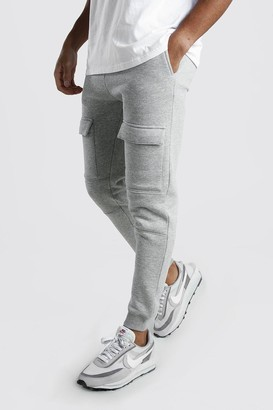 boohoo Mens Grey Front Pocket Panelled Cargo Jogger, Grey