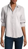 Frank And Eileen Eileen Long-Sleeve Distressed Button-Down Shirt, Gray