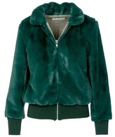 Naftul Fluffy Faux-Fur Bomber Jacket Green