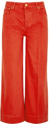 Victoria Victoria Beckham Red Cropped Wide-leg Jeans