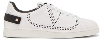 Valentino V Logo Perforated Leather Trainers - Mens - White Black