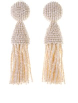 Oscar de la Renta Ivory Classic Short Tassel Earrings