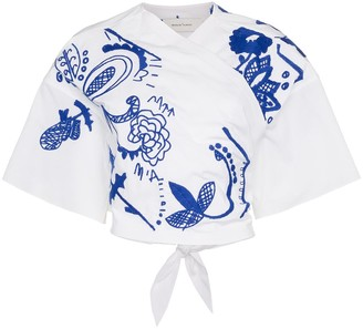 Marques Almeida Cropped Embroidered Wrap Top