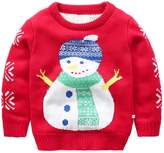 JELEUON Baby Boys Girls Toddler Long Sleeve Christmas Snowman Pullover Sweater Sweatshirt