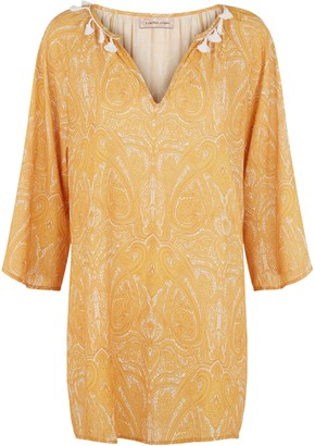 Traffic People Moments Paisley Printed Mini Dress In Mustard Yellow
