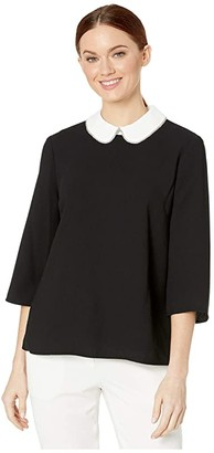 CeCe 3/4 Sleeve Blouse with Rhinestone Collar Trim (Rich Black) Women's Clothing