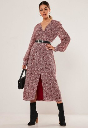 Missguided Floral Print Button Through Midi Dress