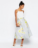 Asos Printed Prom Midi Skirt in Texture Co-ord