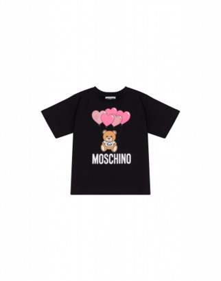 Moschino Heart Balloons Teddy Bear Maxi T-shirt Woman Black Size 4a It - (4y Us)