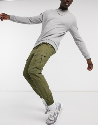 Another Influence cuffed cargo pants in khaki