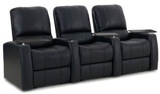Latitude Run Leather Home Theater Sofa (Row of 3 Upholstery: Luxe Black, Recliner Type: Power