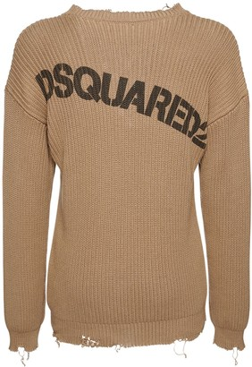 DSQUARED2 Destroyed Logo Print Knit Cotton Sweater