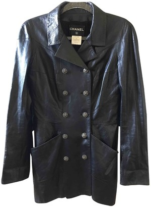 Chanel Black Leather Trench Coat for Women