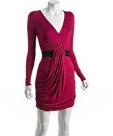 rose jersey drape v-neck dress