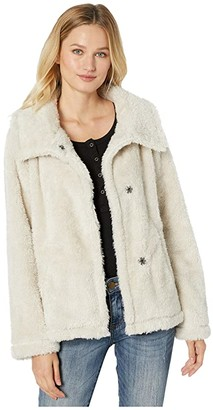 Dylan by True Grit Fleece Forever Soft Inside and Out Snap Jacket with Pockets (Stone) Women's Clothing