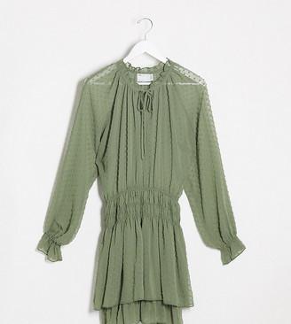 Asos Tall ASOS DESIGN Tall shirred waist dobby mini dress with tiered skirt in khaki