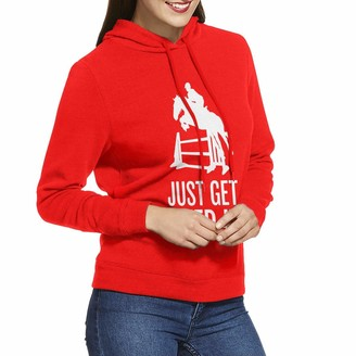 Rtonbra Horse Horseback Riding Jump Just Get Over It Women's Fashion Adult Long-Sleeved Hoodie Red
