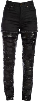 Saint Laurent Distressed Chainmail Jeans