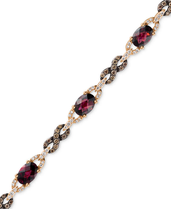 LeVian Le Vian Raspberry Rhodolite Garnet (5-5/8 ct. t.w.) and Diamond (1 ct. t.w.) Link Bracelet in 14k Rose Gold