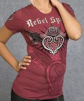 Rebel Spirit Fuchsia Crown Logo Tee - Women