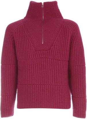 Jacquemus La Maille Olive Zip Mockneck Sweater