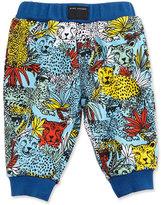 Little Marc Jacobs Cotton Jersey Leopard Track Pants, Blue/Yellow, Size 3-12 Months