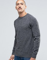 Barbour Jumper In Lambswool In Dark Grey