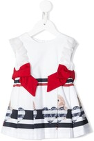 Lapin House bunny print pleated ruffle dress