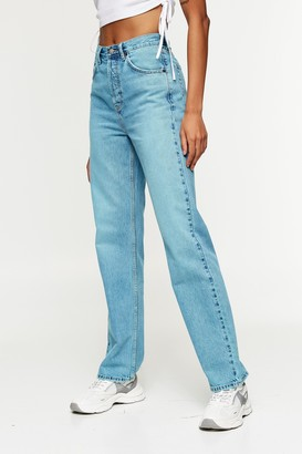 Topshop Womens Blue Overdyed 90S Straight Jeans - Electric Blue
