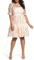 Adrianna Papell Plus Size Women's Embroidered Mesh Party Dress