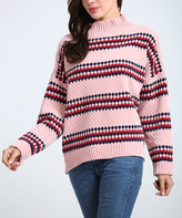 Couture Simply Women's Pullover Sweaters Pink - Pink Stripe Side-Slit Turtleneck Sweater - Women & Plus
