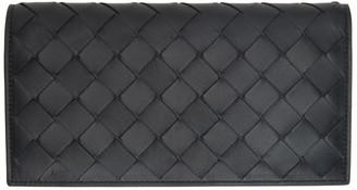 Bottega Veneta Black Intrecciato Flap Wallet